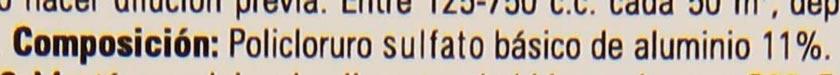 Etiqueta del floculante Quimifloc PS que detalla la composición a base de policloruro sulfato básico de aluminio 11%