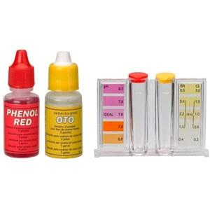 Medidor de cloro y pH para piscina con gotas reactivas