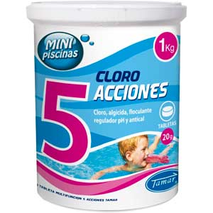 Pastillas de cloro 5 acciones para mini piscinas